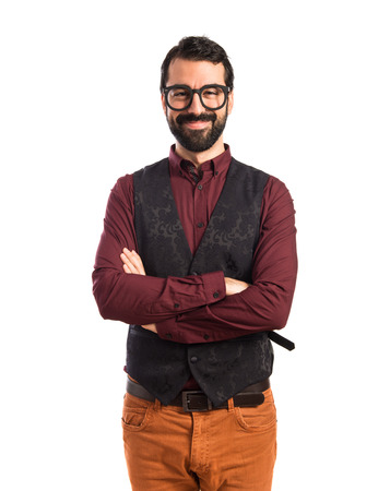 waistcoat: Man wearing waistcoat with his arms crossed