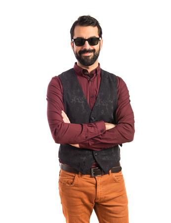 waistcoat: Man wearing waistcoat with sunglasses Stock Photo