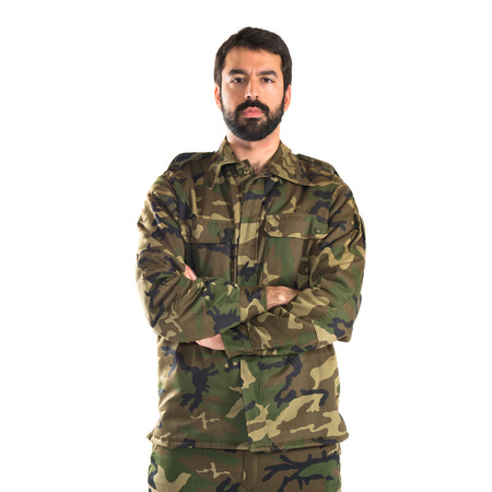 Soldier with his arms crossed Stock Photo