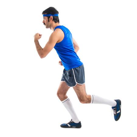thin man: Vintage runner running fast
