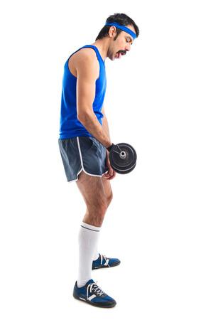 sportman: Crazy sportman doing weightlifting