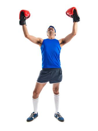 sportman: sportman with boxing gloves
