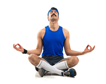 zen: Vintage sportman in zen position Stock Photo