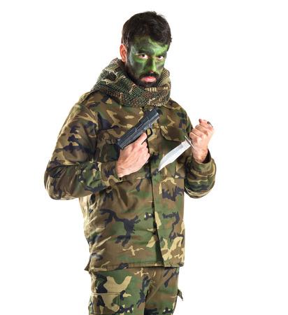 Soldier with a gun photo