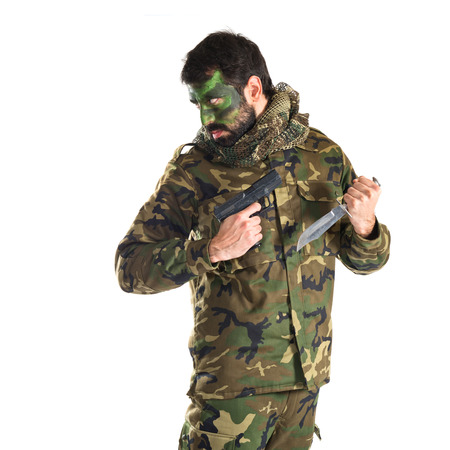 special service agent: Soldier with a gun Stock Photo