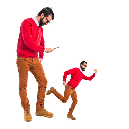 Hipster man chasing his clone