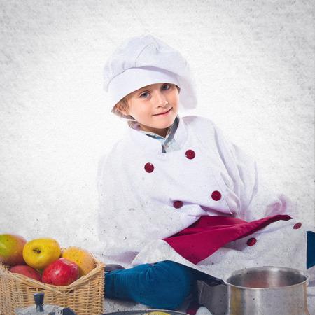 dressed: Blonde little girl dressed like chef