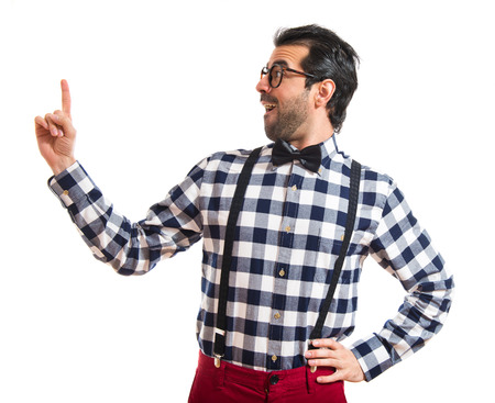 posh: Posh boy pointing up