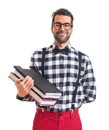 posh: Posh boy holding books