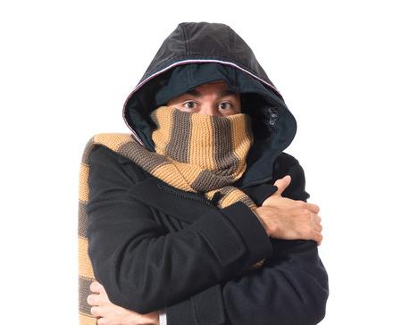 Man freezing over white Stock Photo