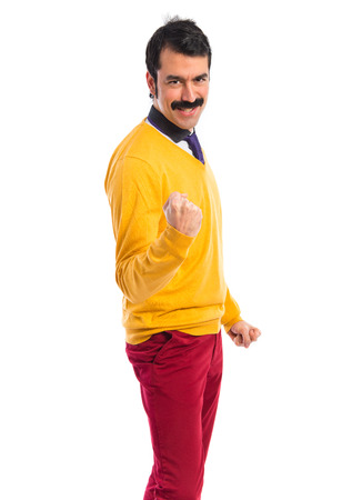 lucky man: Lucky man with moustache over white background Stock Photo