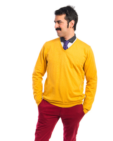 white moustache: Man with moustache over white background