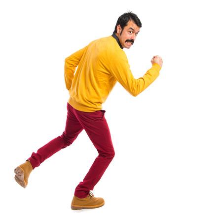 stupid body: Hipster man running fast