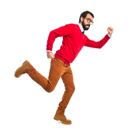stupid body: Hipster man running fast
