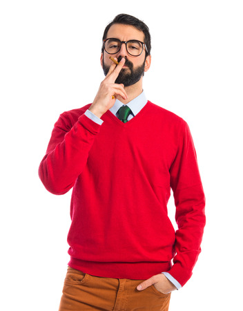 hombre fumando: Hipster hombre que fuma Foto de archivo