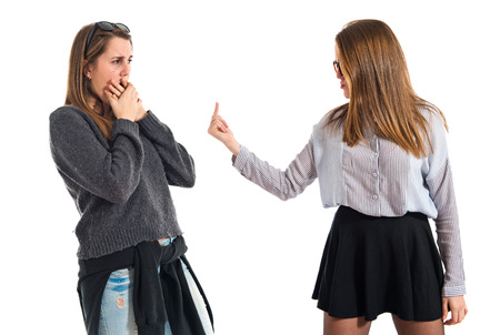 twin sister: girl angry with her twin sister