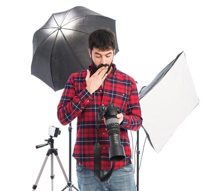Photographer doing surprise gesture photo