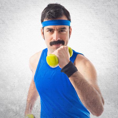 sportman: Sportman running with weightlifting