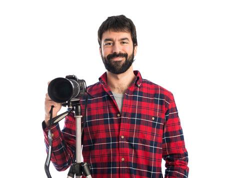 Photographer over white background photo