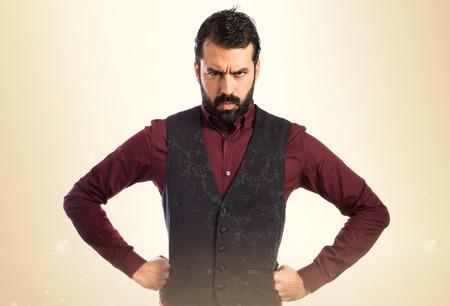 waistcoat: Angry man wearing waistcoat Stock Photo