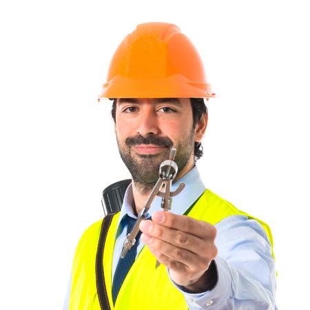 compas: architect holding a compas Stock Photo