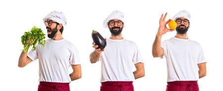 aubergine: Chef holding an aubergine