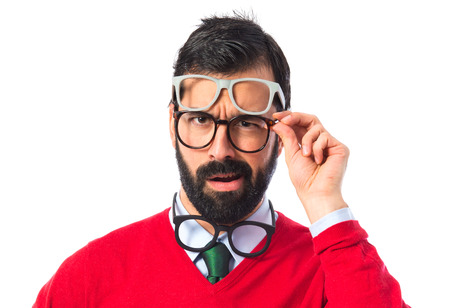 Hipster man with several glasses