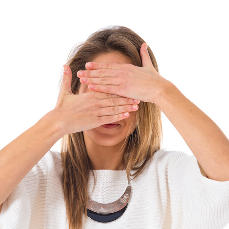 covering: Woman covering his face