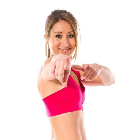 sport woman: Sport woman pointing front