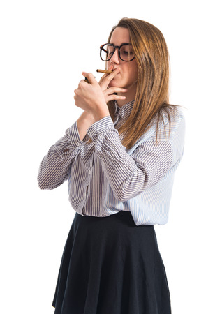 well dressed girl: Teen girl smoking Stock Photo