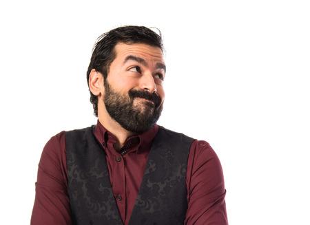 waistcoat: Man wearing waistcoat making unimportant gesture Stock Photo