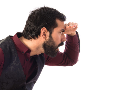 waistcoat: Man wearing waistcoat showing something