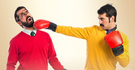 Twin brothers fighting photo