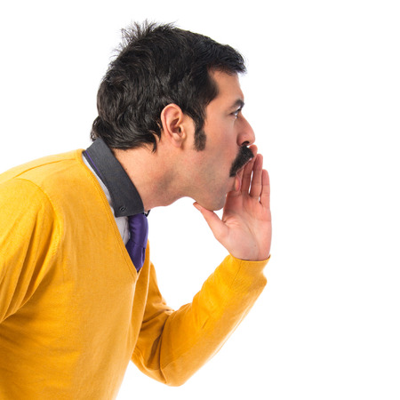 white moustache: Man with moustache shouting over white background