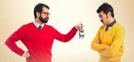 unimportant: angry man because his brother comes late Stock Photo