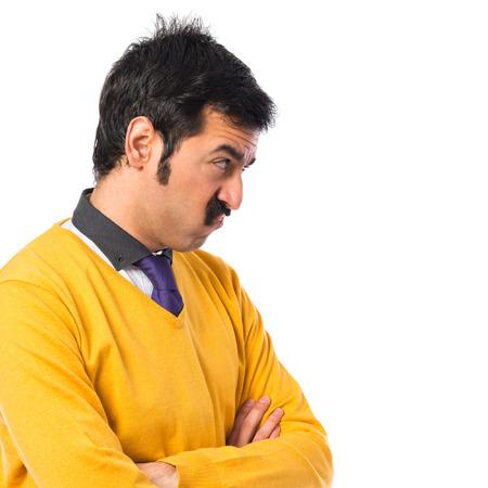 unimportant: Man with moustache making unimportant gesture