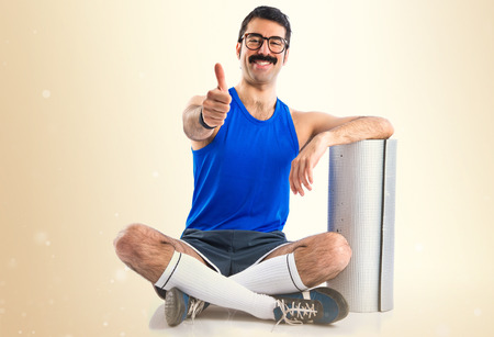 sportman: Crazy sportman with thumb up
