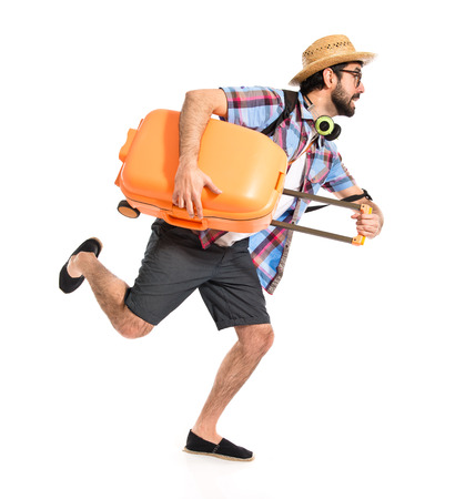 Tourist running fast photo