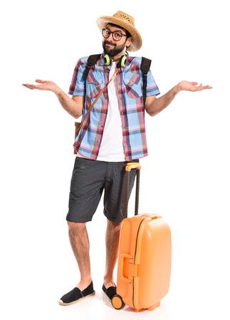 unimportant: Tourist making unimportant gesture Stock Photo
