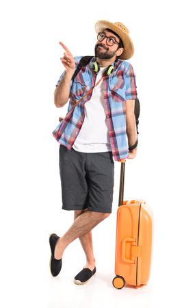 Tourist pointing up Standard-Bild