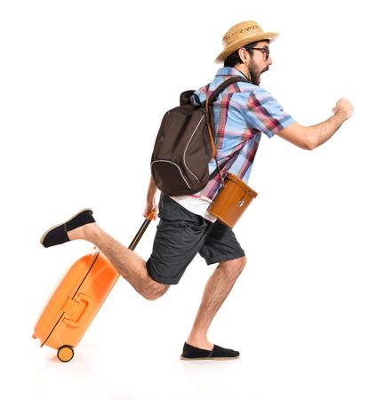 Tourist running fast Stock Photo - 39056185