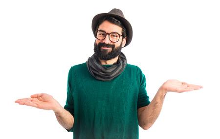 unimportant: bohemian man making unimportant gesture