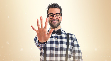 counting five: Posh boy counting five Stock Photo