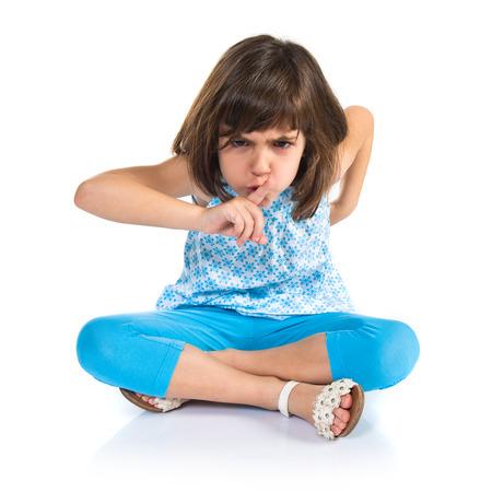 silence gesture: Girl making silence gesture