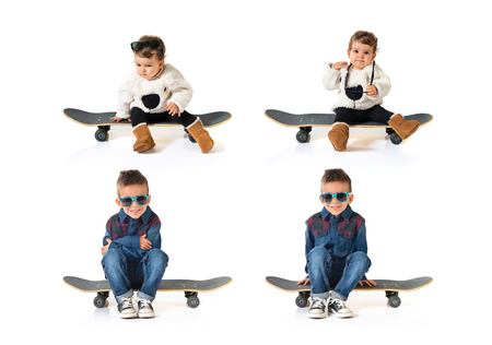 skate board: Kid playing with skate board