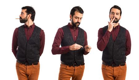 warning vest: Man wearing waistcoat smoking Stock Photo