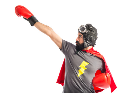 Super hero in fly position Stock Photo