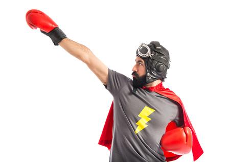 Super hero in fly position Standard-Bild