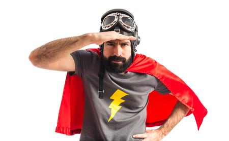 何かを示すスーパー ヒーロー 写真素材