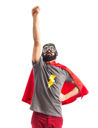 white beard: Superhero doing fly gesture